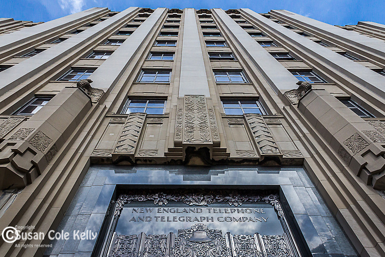 The art-deco New England Telephone and Telegraph Building in the West End neighborhood of Boston, Massachusetts, USA