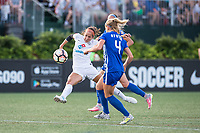 Boston, MA - Friday August 04, 2017: Shea Groom and Megan Oyster during a regular season National Women's Soccer League (NWSL) match between the Boston Breakers and FC Kansas City at Jordan Field.