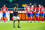 Solna 2013-09-30 Fotboll Allsvenskan AIK - &Ouml;sters IF :  <br /> AIK 9 Martin Kayongo Mutumba ser nedst&auml;md ut efter att &Ouml;ster 23 Alhaji Gero kvitterat till 1-1 i matchen<br /> (Foto: Kenta J&ouml;nsson) Nyckelord:  depp besviken besvikelse sorg ledsen deppig nedst&auml;md uppgiven sad disappointment disappointed dejected