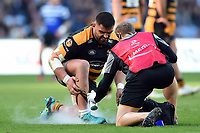 Zurabi Zhvania of Wasps is treated during a break in play. Heineken Champions Cup match, between Wasps and Bath Rugby on October 20, 2018 at the Ricoh Arena in Coventry, England. Photo by: Patrick Khachfe / Onside Images