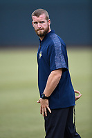 Strength and conditioning coach Sam Nickelsen of the Columbia Fireflies before a game against the Charleston RiverDogs on Friday, April 5, 2019, at Segra Park in Columbia, South Carolina. Charleston won, 6-1. (Tom Priddy/Four Seam Images)