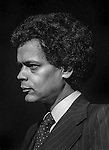 Modesto, California-April 14, 1979-Julian Bond was in town speaking.  I photographer him while KOVR Channel 13 was interviewing him.