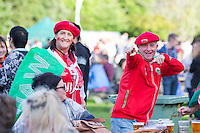 Wales fans at the Cardiff Fanzone ahead of the Euro 2016 quarter final between Wales and Belgium , Cardiff, Wales on 1 July 2016. Photo by Mark  Hawkins/PRiME Media Images.