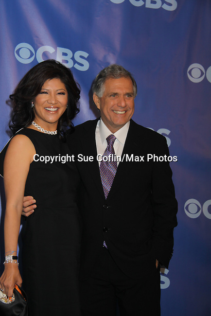Julie Chen (The Talk) and Big Brother and Leslie Moonves (President and Chief Executive Officer, CBS COrporation) and wife and husband at the CBS Upfront 2011 on May 18, 2011 at Lincoln Center, New York City, New York. (Photo by Sue Coflin/Max Photos)