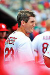 8 March 2012: St. Louis Cardinals' infielder David Freese stands in the dugout prior to a Spring Training game against the Boston Red Sox at Roger Dean Stadium in Jupiter, Florida. The Cardinals defeated the Red Sox 9-3 in Grapefruit League action. Mandatory Credit: Ed Wolfstein Photo