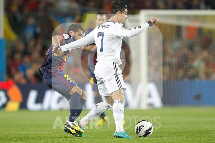 Barcelona's Daniel Alves and Real Madrid's Cristiano Ronaldo during la Liga match on october 7th 2012. ..Photo: Cesar Cebola  / ALFAQUI