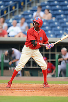 Clearwater Threshers outfielder Jiwan James (4) during a game against the Jupiter Hammerheads July 21, 2013 at Bright House Field in Clearwater, Florida.  Jupiter defeated Clearwater 1-0.  (Mike Janes/Four Seam Images)