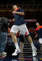 CHARLOTTESVILLE, VA- JANUARY 7: Paul Jesperson #2 of the Virginia Cavaliers runs onto the court during the game against the Miami Hurricanes on January 7, 2012 at the John Paul Jones Arena in Charlottesville, Virginia. Virginia defeated Miami 52-51. (Photo by Andrew Shurtleff/Getty Images) *** Local Caption *** Paul Jesperson