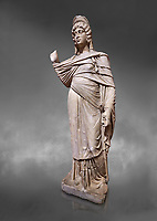 Roman statue of Julia Domina . Marble. Perge. 2nd century AD. Inv no 3268. Antalya Archaeology Museum; Turkey.<br /> <br /> Julia Domna (AD 160–217) was a Roman empress , the second wife of Septimius Severus (reigned 193–211).  Against a grey background