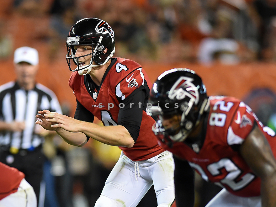 CLEVELAND, OH - AUGUST 18, 2016: Quarterback Matt Simms #4 of the Atlanta Falcons calls for the snap in the third quarter of a preseason game on August 18, 2016 at FirstEnergy Stadium in Cleveland, Ohio. Atlanta won 24-13. (Photo by: 2016 Nick Cammett/Diamond Images) *** Local Caption *** Matt Simms