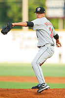 Starting pitcher Vincent Velasquez #34 of the Greeneville Astros in action against the Elizabethton Twins at Joe O'Brien Field August 15, 2010, in Elizabethton, Tennessee.  Photo by Brian Westerholt / Four Seam Images