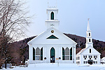 Two churches in the center of Newfane, VT, USA