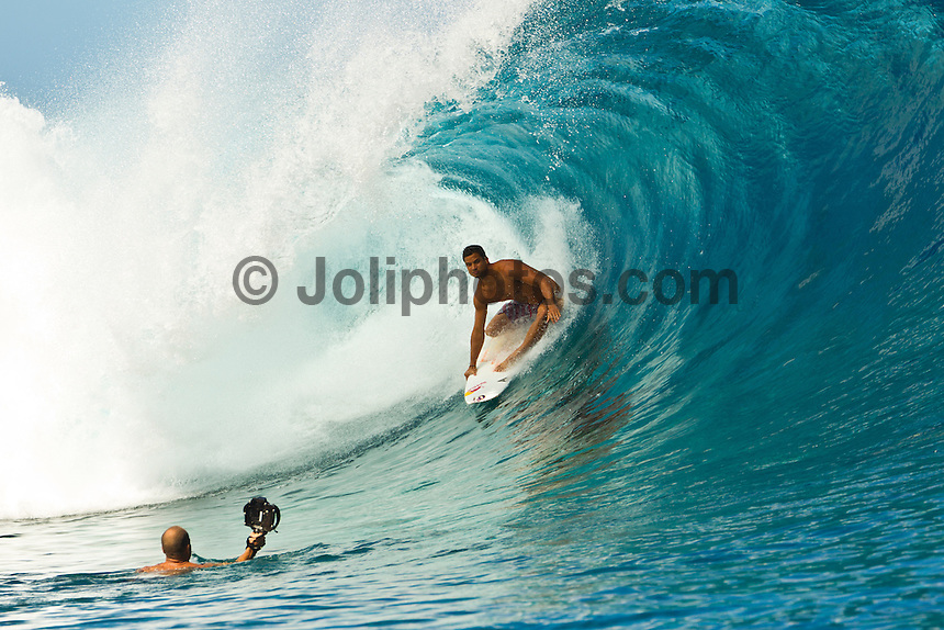 Teahupoo, Tahiti Iti, French Polynesia. Friday August 19 2011. Michel Bourez (PYF).  A south  west swell was hitting the main reef today with clean open barrels in the six-eight foot range.  An expression session featuring the majority of surfers from the Top 32 ran from 10 am till 2 pm. The surfers used the near perfect conditions to practise for the Billabong Pro Tahiti was starts tomorrow.Photo: joliphotos.com
