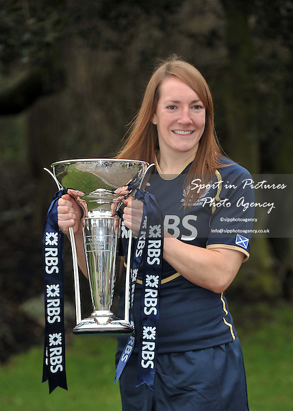 Susie Brown of Scotland poses with the trophy. RBS 6 Nations Rugby Launch. The Hurlingham Club. London. 25/01/2012. MANDATORY Credit Garry Bowden/Sportinpictures - NO UNAUTHORISED USE - 07837 394578