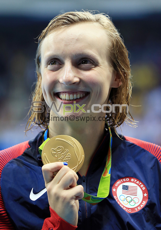 RIO DE JANEIRO, BRAZIL - AUGUST 09:  Katie Ledecky of the USA wins Gold in the Women's 200m Freestyle Final on Day 4 of the Rio 2016 Olympic Games at the Olympic Aquatics Stadium on August 9, 2016 in Rio de Janerio, Brazil.  (Photo by Vaughn Ridley/SWpix.com)