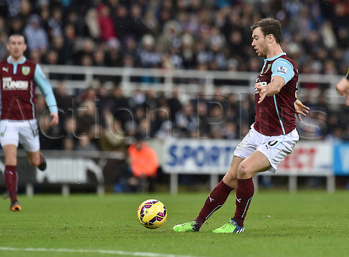 01.01.2015.  Newcastle, England. Barclays Premier League. Newcastle versus Burnley. Ashley Barnes of Burnley shoots at goal