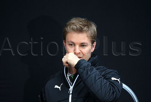 22.02.2016. Barcelona, Spain.  German Formula One driver Nico Rosberg of Mercedes AMG Petronas Team gestures during the launch of the new car W07 for the upcoming Formula One season at the Circuit de Barcelona - Catalunya in Barcelona, Spain.
