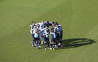Wycombe Wanderers pre match ream huddle during the Sky Bet League 2 match between Wycombe Wanderers and Mansfield Town at Adams Park, High Wycombe, England on 25 March 2016. Photo by Andy Rowland.