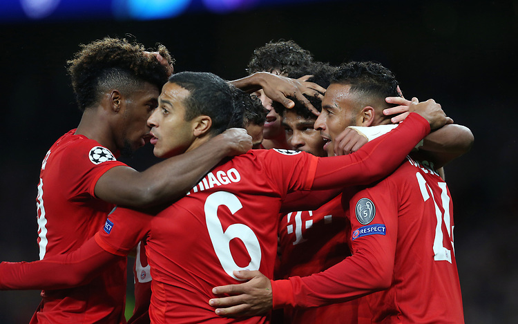 Bayern Munich's Serge Gnabry is congratulated after scoring his side's fourth goal <br /> <br /> Photographer Rob Newell/CameraSport<br /> <br /> UEFA Champions League Group B  - Tottenham Hotspur v Bayern Munich - Tuesday 1st October 2019 - White Hart Lane - London<br />  <br /> World Copyright © 2018 CameraSport. All rights reserved. 43 Linden Ave. Countesthorpe. Leicester. England. LE8 5PG - Tel: +44 (0) 116 277 4147 - admin@camerasport.com - www.camerasport.com