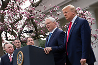 Adam H. Schechter, President and CEO of LabCorp, speaks during a news conference with United States President Donald J. Trump, United States Vice President Mike Pence, members of the Coronavirus Task Force, and Industry Executives, in the Rose Garden at the White House in Washington D.C., U.S., on Friday, March 13, 2020.  Trump announced that he will be declaring a national emergency in response to the Coronavirus.  Credit: Stefani Reynolds / CNP/AdMedia