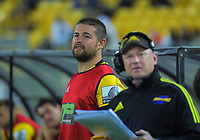Hurricanes reserve hooker Dane Coles watches a replay of Tyrell Lomax's shoulder charge, which resulted in a red card during the Super Rugby match between the Hurricanes and Blues at Sky Stadium in Wellington, New Zealand on Saturday, 7 March 2020. Photo: Dave Lintott / lintottphoto.co.nz
