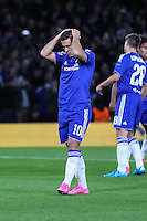 Eden Hazard of Chelsea holds his hands on his head after missing a penalty during the UEFA Champions League match between Chelsea and Maccabi Tel Aviv at Stamford Bridge, London, England on 16 September 2015. Photo by David Horn.