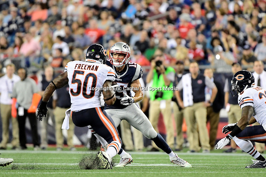 Thursday, August 18 2016: New England Patriots wide receiver Chris Hogan (15) looks for a way by Chicago Bears linebacker Jerrell Freeman (50) during a pre-season NFL game between the Chicago Bears and the New England Patriots held at Gillette Stadium in Foxborough Massachusetts. The Patriots defeat the Bears 23-22 in regulation time. Eric Canha/Cal Sport Media