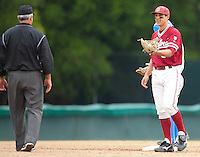 STANFORD, CA - April 23, 2011: Kenny Diekroeger of Stanford baseball questions a call during Stanford's game against UCLA at Sunken Diamond. Stanford won 5-4.
