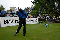 Peter Lawrie drives off on the opening hole during the final round of the BMW PGA Championship at Wentworth Club, Surrey, England 27th May 2007 (Photo by Eoin Clarke/NEWSFILE)