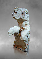 The celebrated Greek statue known as 'The Belvedere Torso', possibly of Greek hero Ajax, signed by Athenian neo-Attic sculptor Apollonios, ist century BC, inv 1192, Pope Clement collection, Vatican Museum Rome, Italy,  grey art background