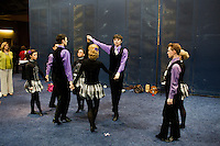 A dance team practices their routine before competition at the 2013 World Championships for Irish Dancing in Boston, Massachusetts, USA.  The 2013 competition in Boston is the second time in the competition's 43-year history that the event has been held in the United States.