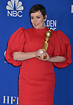 Olivia Coleman 134 poses in the press room with awards at the 77th Annual Golden Globe Awards at The Beverly Hilton Hotel on January 05, 2020 in Beverly Hills, California.