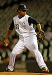 8 September 2006: Manuel Corpas, pitcher for the Colorado Rockies, on the mound against the Washington Nationals. The Rockies defeated the Nationals 10-5 in a rain-delayed game at Coors Field in Denver, Colorado. ..Mandatory Photo Credit: Ed Wolfstein..
