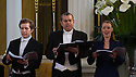 London, UK. 06.04.2013. Ensemble Serse present LUCIO PAPIRIO DITTATORE, as part of the Handel Festival, in the Grosvenor Chapel, Mayfair. Artistic Director, Calvin Wells, is one of very few male sopranos in the opera world. Photograph © Jane Hobson.