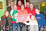 Matt Sweetman, Honda 50 club, pictured presenting James Looney, IHCPT, with EUR4,488, from their Malin to Mizen honda 50 run, in the Dromhall on Tuesday night. Also pictured are Amy Moynihan, Caroline Sweetman, Edel and Christopher Sweetman, Derry Joy, Noel  Moynihan and Pat Moynihan.