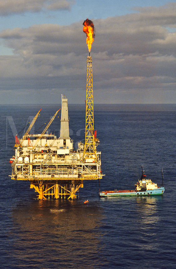 North Sea oil production platform off the Scottish coast.