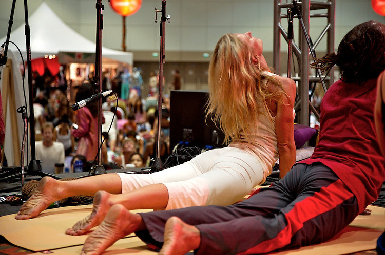 Global Mala Project (GMP) event.  108 Sun Salutations (Surya Namaskars).  Shiva Rea and Michael Bernard Beckwith.