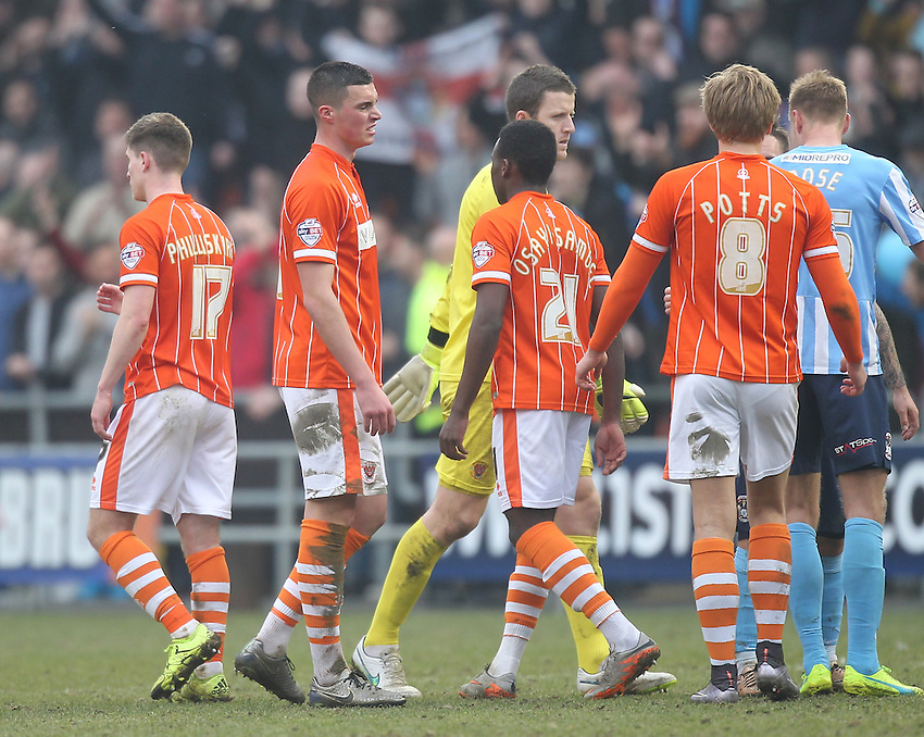 Blackpool's players look dejected<br /> <br /> Photographer Mick Walker/CameraSport<br /> <br /> Football - The Football League Sky Bet League One - Blackpool v Coventry City - Saturday 12th March 2016 - Bloomfield Road - Blackpool   <br /> <br /> &copy; CameraSport - 43 Linden Ave. Countesthorpe. Leicester. England. LE8 5PG - Tel: +44 (0) 116 277 4147 - admin@camerasport.com - www.camerasport.com