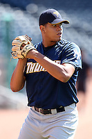 Trenton Thunder pitcher Dellin Betances #50 before a game against the Akron Aeros at Canal Park on July 26, 2011 in Akron, Ohio.  Trenton defeated Akron 4-3.  (Mike Janes/Four Seam Images)