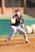 Bowling Green Falcons starting pitcher Andrew Lacinak (28) in action against the High Point Panthers at Willard Stadium on March 9, 2014 in High Point, North Carolina.  The Falcons defeated the Panthers 7-4.  (Brian Westerholt/Four Seam Images)