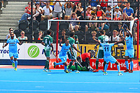 India's players celebrate Talwinder Singh's goal, 3-0 to India during the Hockey World League Semi-Final match between Pakistan and India at the Olympic Park, London, England on 18 June 2017. Photo by Steve McCarthy.