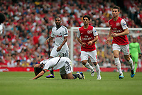 Pictured: Danny Graham of Swansea injured on the ground. Saturday 10 September 2011<br />