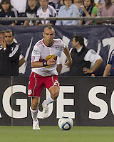 New York Red Bulls midfielder Joel Lindpere (20) at midfield. In a Major League Soccer (MLS) match, the New England Revolution tied New York Red Bulls, 2-2, at Gillette Stadium on August 20, 2011.