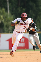 University of South Carolina Gamecocks centerfielder Jackie Bradley jr. #19 running the bases during the 2nd and deciding game of the NCAA Super Regional vs. the University of Coastal Carolina Chanticleers on June 13, 2010 at BB&T Coastal Field in Myrtle Beach, SC.  The Gamecocks defeated Coastal Carolina 10-9 to advance to the 2010 NCAA College World Series in Omaha, Nebraska. Photo By Robert Gurganus/Four Seam Images