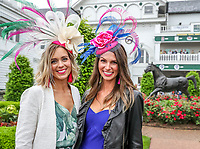 LOUISVILLE, KENTUCKY - MAY 04: Valerie Natherton (L) and Sara Bachman (R) pose in front of the Aristides statute as they celebrate Thurby in the rain at Churchill Downs on May 4, 2017 in Louisville, Kentucky. (Photo by Jesse Caris/Eclipse Sportswire/Getty Images)
