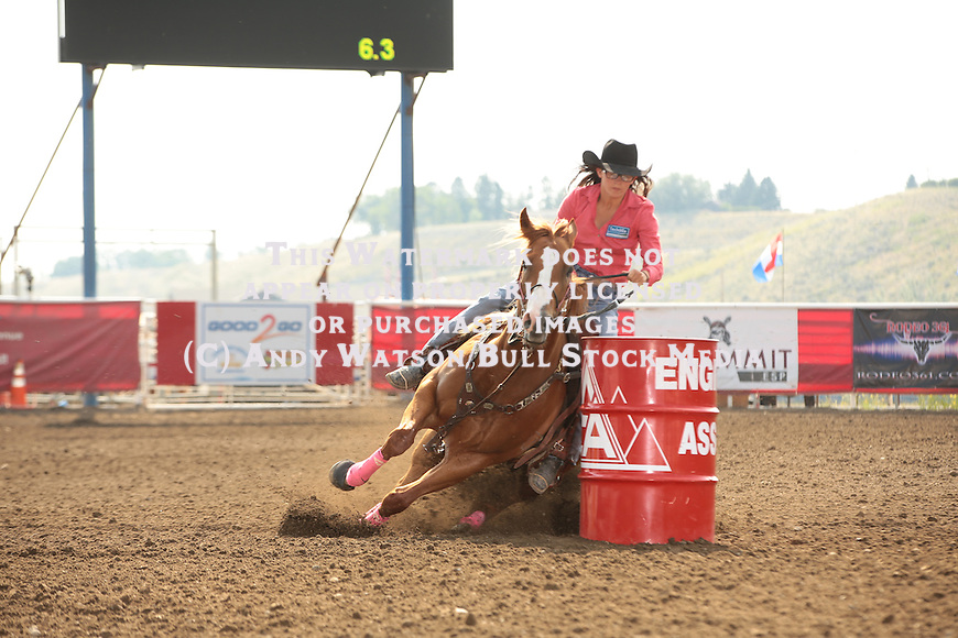 Ivy Conrado during the 7/3 barrel slack of the Cody Wyoming PRCA rodeo. Photo by Andy Watson. All Photos (C) Watson Rodeo Photos, INC. Any use must have written Permission.