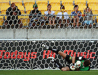 Glen Moss makes a save during the A-League match between Wellington Phoenix and Newcastle Jets at Westpac Stadium, Wellington, New Zealand on Sunday, 4 January 2009. Photo: Dave Lintott / lintottphoto.co.nz