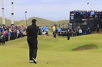 Shane Lowry (IRL) plays his 2nd shot on the 15th hole during Sunday's Final Round of the 148th Open Championship, Royal Portrush Golf Club, Portrush, County Antrim, Northern Ireland. 21/07/2019.<br /> Picture Eoin Clarke / Golffile.ie<br /> <br /> All photo usage must carry mandatory copyright credit (© Golffile | Eoin Clarke)