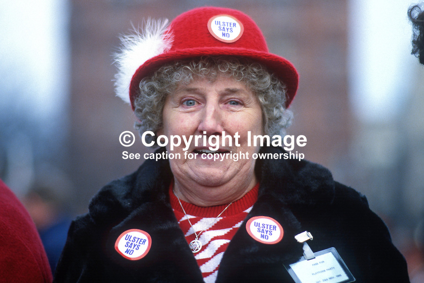Anti Anglo-Irish Agreement Rally, City Hall, Belfast, Saturday, 23rd November 1985 - this attendee is definitely anti-agreement! 19851112x..Copyright Image from Victor Patterson, 54 Dorchester Park, Belfast, UK, BT9 6RJ..Tel: +44 28 9066 1296.Mob: +44 7802 353836.Voicemail +44 20 8816 7153.Skype: victorpattersonbelfast.Email: victorpatterson@me.com.Email: victorpatterson@ireland.com (back-up)..IMPORTANT: If you wish to use this image or any other of my images please go to www.victorpatterson.com and click on the Terms & Conditions. Then contact me by email or phone with the reference number(s) of the image(s) concerned.