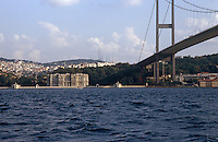 A view across the choppy waters of the Bosphorus